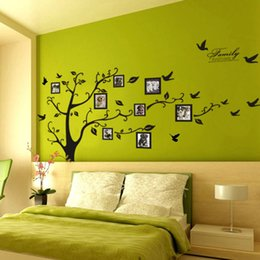 Decoración del árbol de familia online-Decoración del hogar 3D pegatina en la pared Black Art Photo Frame Memory Tree Pegatinas de pared Decoración para el hogar Family Tree Wall Decal