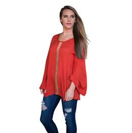 Wholesale Red Webbing - Autumn New Webbing Splicing Trumpet Sleeve Female Long-sleeved Base Shirt