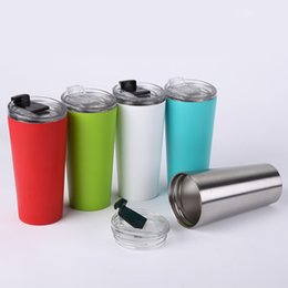 Wholesale Wholesale White Coffee Mugs - New Arrived Sliver Metal Insulated Travel Mug Water Bottle Beer Coffee Mugs with Lid for Car Cups 16oz Coffee cup