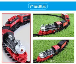 Wholesale Train Toys Longer Tracks - Children's long track electric train retro wireless remote control music model simulation toys educational parent-child gift