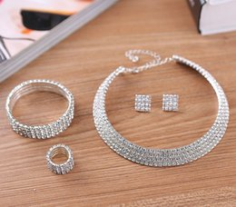 Wholesale Women Necklace Row - 2-5 Rows Crystal Rhinestone Wedding Bridal Necklace Earrings Bracelet & Ring Set Wholesale Jewelry sets for Women