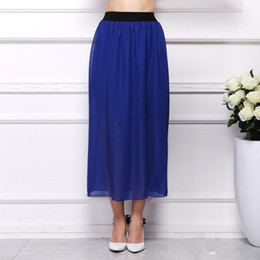 Wholesale Blue Coral Loose - Plus Size New Fashion 2017 Sping and Summer Women Skirt Loose Waist Sexy Chiffon Skirt Long Skirt wholesale