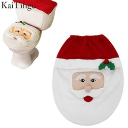 Wholesale Toilet Seat Covers Lids - 3 Style Choice 1 Pcs Snowman Toilet Seat Cover Toilet lid New Year Xmas Christmas Decoration