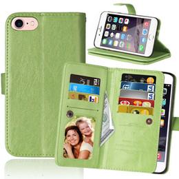 funda multifuncion para iphone Rebajas Funda de cuero multifuncional de la cartera de 9 tarjetas para Iphone 8 7 Plus Funda de cuero de la bolsa monedero lujosa de la bolsa de dinero de XT1650 de ZO