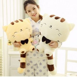 Wholesale Low Price Cat Toys - 45CM Lovely Big Face Smiling Cat Stuffed Plush Toys Soft Animal Dolls Factory Lowest Price Best Gifts for Kids High Quality