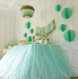 2019 botín de mesa de bodas de oro Falda de mesa de tutú de tul de boda más nueva Colores personalizados Cumpleaños Falda de estación de postre Baby Showers Decoración de mesa de fiesta 100 * 80 cm wn331