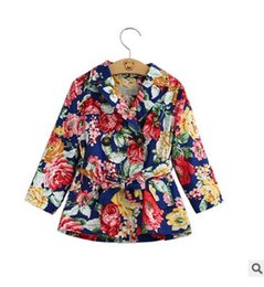 Wholesale Girl Style Trench - 2016 Kids Outwear New Autumn Floral Butterfly Girls Trench Coat Flower Printed Children Windbreaker Fashion Korean Girl Clothes 6325