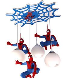 Wholesale Energy Saving Halogen Bulbs - New children's house spider-man light LED bulb with bedroom boys lighting LED creativity Pendant Lamps 110-240V LLFA