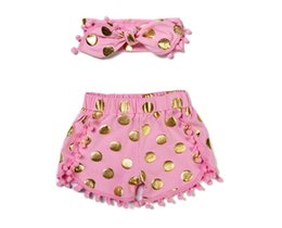 Wholesale Leopard Outfits For Babies - 2016 polka dot shorts for baby girl tassel short pants + headbands set kids shorts Pom Pom shorts for babies children shorts leopard outfits