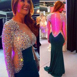 Wholesale Silver Evening Dress Wholesale - Glitter Shinny Crystals Beaded Sequined Prom Dresses Timeless Long Sleeves Mermaid Evening Dresses 2016 Sexy Sheer Zipper Back Party Gowns
