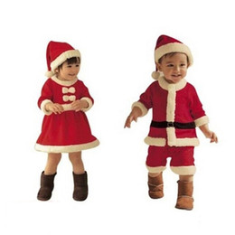Wholesale Costumes For Kids Free Shipping - 2016 Red Kids Christmas Hats Dresses for Girls Boys Children Clothes Christmas Party Costume Kids Christmas Gifts Free Shipping