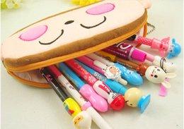 Wholesale Domo Pens - 10pcs High Quality Pencil Case domo kun Plush Pen bag Cosmetic bags for kids Stitch Mickey Totoro KT Cat Purse Wallet Cartoon 21*10*2.5cm