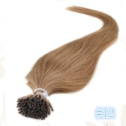"Wholesale Stick I Tip Wholesale - 7A grade 100g pack italian keratin I tip stick hair extensions 16""-26"" 100% human hair #12 light brown free shipping"