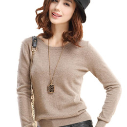 Wholesale Pink Cashmere Sweater Women - 2017 New Fashion Round Neck Pullover Sweater Knitting Cashmere Sweater  Slim,Multicolor Sweater