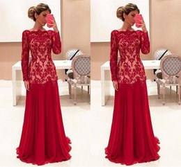Wholesale Elegent Formal Dress - 2017 Cheap Elegent Red Mother Of the Bride Dresses Bateau Neck Long Sleeves Lace Appliques Chiffon Plus Size Formal Wedding Guest Dress