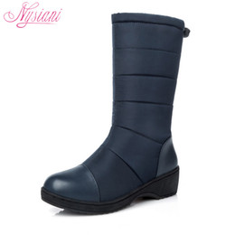 Wholesale Thick Soled Boots Women - Wholesale- Nysiani 2016 Snow Boots Red Winter Warmer Shoes For Women Thick Soles Non Slip Mid-calf Fashion Snow Boots Heel Women Waterproof