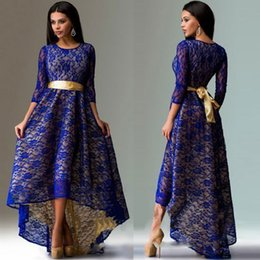 Wholesale Dovetail Dresses - free shipping 2017 korean With Belt long dress summer sexy lace hem asymmetric dovetail cultivate one's morality plus size Lace dress