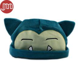 """Videos de animales gratis online-Nuevo Snorlax Hat Soft Plush Hat Anime Cartoon Cosplay Cap Head Custume Azul Aprox 8 """"Código de seguimiento gratuito"""