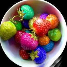 Wholesale Rainbow Garden - 100 PCS Rainbow Strawberry Fruit Seeds Multicolor Strawberry Fruit Seeds Courtyard and Garden Green Fruits and Vegetables