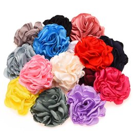 Wholesale Artificial Little Flower - Wholesale 32pcs Artificial Rose Flowers High Quality Rosette Burning Flowers infant Baby Flowers for Little Girls Hair Accessory