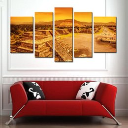 Wholesale Arts Architecture - 5 Pieces Maya Pyramid Painting Wall Art Landscape Picture Print on Canvas For Home Wall Decor Aztec Civilization Mexico Architecture