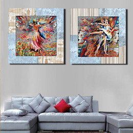Wholesale Girl Ballet Dancer - 50*50Cm Hotel Bedroom Wall Decoration Abstract Dancing Girl Paintings Colorful Ballet Dancer Living Room Unframed Wall Decor 2 Panels