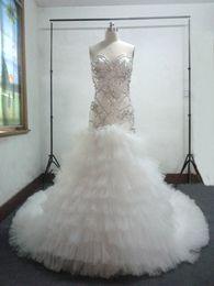 Sirena de cristal de encaje capilla del amor online-Vestido de novia romántico con cuentas de sirena de cristal con cuentas y vestidos de boda de tren de capilla 2017 con cordones