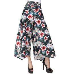 Wholesale Drawstring Dress Women - Summer Women floral print Ethnic Wide Leg Pant Loose Linen+cotton Dress Pants Female Casual Skirt Trousers Capris Culottes KL129