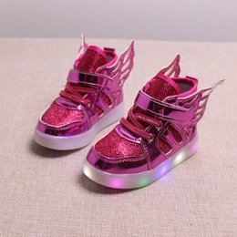 Wholesale Kids Flashing Shoes - Children shoes with light 2017 New Toddler glowing sneakers led kids Lighted Shoes toddler Boys LED Flashing girls shoes wings