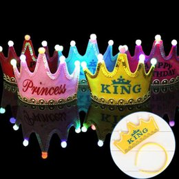 Wholesale Happy Birthday Crown - Birthday party hats LED light Happy Birthday Crown hair accessory prince princess for party decoration adult child cap hair band DHL HQ018