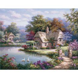 pinturas a óleo de cisnes Desconto Pinturas a óleo coloridas do jardim por Sung Kim Coastal paisagens Swan Cottage Handmade arte moderna para decoração de parede