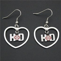 Wholesale Biker Jewelry Silver - Cool 316L stainless steel biker jewelry ladies biker earrings red heart shape dangle