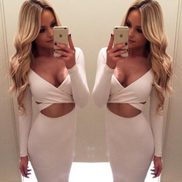 Wholesale White Winter Clubbing Dresses - Long sleeve winter women sexy Criss nigh club wear deep V bandage bodycon party dresses white black red hollow out dress plus size