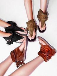 2016 più nuovo tempo libero di vibrazione del cuoio altezza interna sandali piatti da donna nappe stringate sandali estivi roma nero brwon kaki da