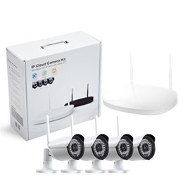 Wholesale outdoor nvr - CCTV Camera IP Wireless Wifi 4CH Outdoor HD 720P NVR System 4PCS 1MP IR Outdoor P2P IP Camera Security System Surveillance Kit