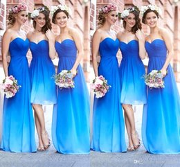 Wholesale Sweetheart Gradient Prom Dress - 2016 New Gradient Colors Bridesmaid Dresses Sweetheart Pleats Chiffon Backless A Line Beach Wedding Party Dresses Girls Prom Dresses BO9264