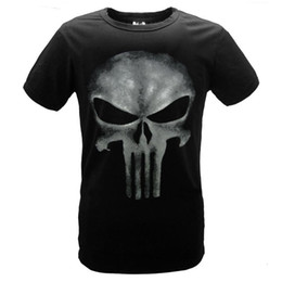Wholesale Punisher Shirt Xl - The Punisher Skull Ghost T-shirt Men Punisher Black Summer GYM Sport Short Sleeve T Shirts Tops Printing Cotton Tees