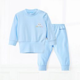 Wholesale Thermals For Infants - 2017 Newborn Baby Clothing Sets 100% Cotton Infant Clothes for Spring Winter Thermal 2pcs Top+Pants Full Baby Tracksuit Warm Solid