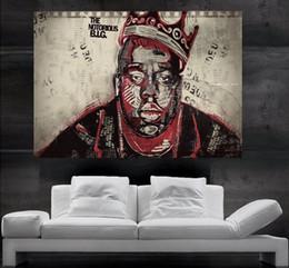 pintura a óleo fundo preto Desconto O Notorious B.I.G., Biggie ou Biggie Smalls rapper Rap Hip Hop Rap Poster impressão da arte da parede 8 peças frete grátis NO86