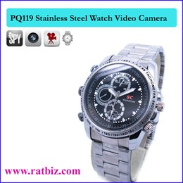 Wholesale spy watch stainless - 16GB memory Built-in stainless steel Spy Watch Camera Sport Watch Camera Hidden Watch Camera Camcorder DV DVR PQ119