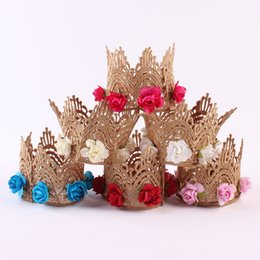 Wholesale Cute Babies Red Roses - Cute Newborn Mini Felt Glitter Gold Crown with rose Flowers Headbands For Baby Girls 1st Birthday Party Hair Accessories A9533