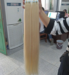 Wholesale Double Drawn Hair - Grade 10A---Double Drawn Blonde Color 613 Pu tape in hair extension 100% Human remy hair 12''-26'' Weight 2 g s 80g pack 40pcs, free DHL