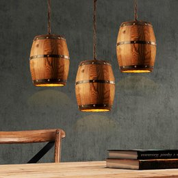 Wholesale Lighting Ceiling Wood - American country loft wood Wine barrel hanging Fixture ceiling pendant lamp E27 light for bar cafe living dining room restaurant