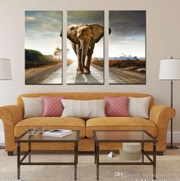 2019 telai di pittura ad olio di elefante 3 Picture Combination Modern Art Oil Paintings Dipinti di grandi elefanti su tela per decorazione di appendere a parete telai di pittura ad olio di elefante economici