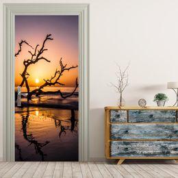 Wholesale Diy Tree Wall Removable - Free shipping DIY Seaside dry tree landscape Door Sticker for Bedroom Living Room Poster PVC Waterproof Decal door wrap 77*200cm