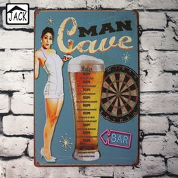 Wholesale Beer Advertising Signs - Wholesale- Man Cave Beer Hot Chick Advertising Plaques Metal Tin Plate Poster 20X30CM Vintage Tin Signs Bar Club Pub Shop home Wall Decor