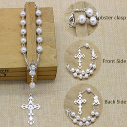 Wholesale Rosary Chain Silver - 50pcs Lot 2017 New High Quality 8mm Pearl Imitation Glass Beads Mini Rosary,Baptism Gift Favor,rosary necklace