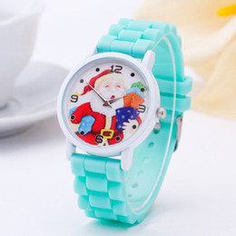 Wholesale Silicon Kids Watch - 10 Colors Cute Cartoon Silicon Quartz Watch for Children Santa Claus Pattern Wristwatches Kids Christmas Gifts 100pcs lot