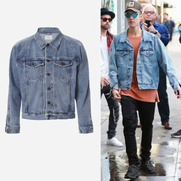 Wholesale Cotton Coats For Men - FEAR OF GOD Men's Vintage Denim Jackets Famous Brand Designer JUSTIN BIEBER Coat for Men Causal Hip hop Rock Male Outerwear Jackets J01