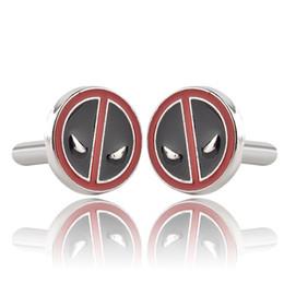 Wholesale Enamel Link Wholesale - Superhero Movie Deadpool Black With Red Enamel Cufflinks For Mens Fashion Brand Cuff Buttons High Quality Cuff Links Souvenir